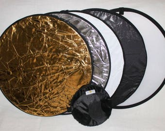Reflector 5 in 1,  60cm, Gold, Silver, Black, White, Translucent, Professional Handheld Reflectors, Folds into its own bag