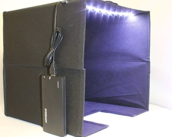 Photography Light Box (Black) with LED Lights and Portable Battery Pack, Macro Photography, Product Photography, Modified
