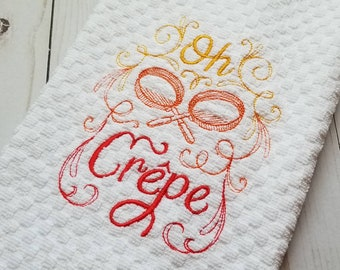 Oh Crepe - YELLOW. ORANGE. RED. - Embroidered Kitchen Hand Towel. Bar Mop. Decorative. Absorbent. High Quality.