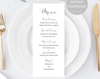 Wedding Menu Template, Wedding Food Menu, Printable Wedding Menu, Printable Menu, Wedding Menu Printable, Wedding Menu Instant Download