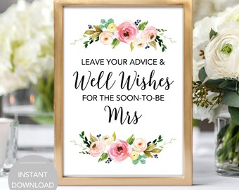 Bridal Shower Advice Sign, Please Leave Your Advice and Well Wishes for the Soon to Be Mrs Sign, Bridal Shower Advice Sign Instant Download