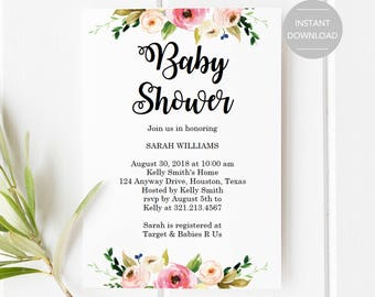 Baby Shower Invitation, Printable Baby Shower Invitation, Floral Baby Shower Invitation, Baby Shower Invitation Template