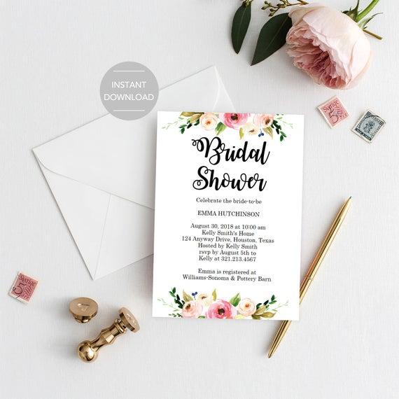 Bridal Shower Invitation Printable Bridal Shower Invitation Etsy