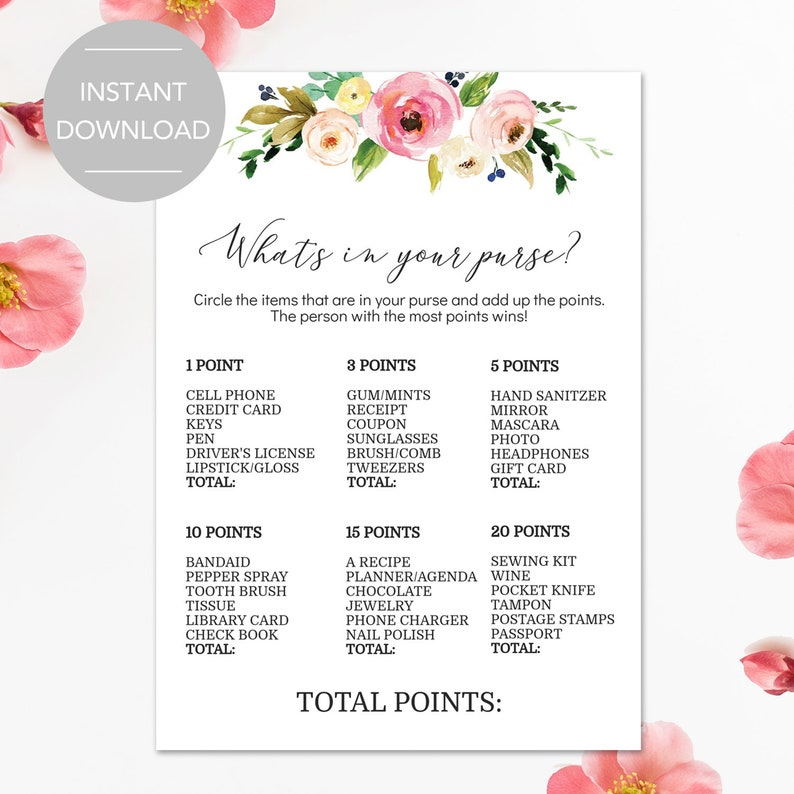 photo about Printable Bridal Shower Card identify Bridal Shower Purse Activity, Printable Bridal Shower Video games, Bridal Shower Whats Within Your Purse Activity, Bridal Shower Game titles Prompt Down load