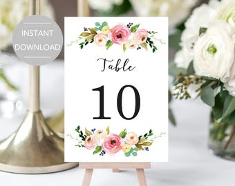 Wedding Table Numbers, Printable Table Numbers, Party Table Numbers, Table Number Template, Table Numbers Instant Download File