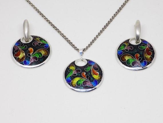 silver earrings gift for her silver jewelry set Black enamel jewelry set statement jewelry enamel pendant free shipping silver ring