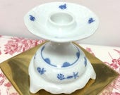 Vintage Schumann Arzberg porcelain, footed candle holder, Indian blue, Germany, collectible,