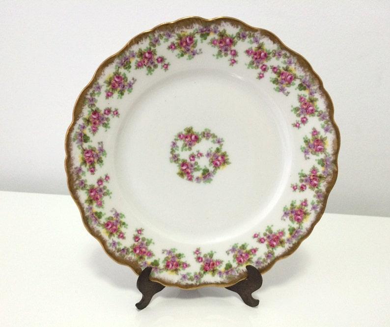 2 Vintage Limoges porcelain dishes, France, Rose pattern, hand-painted gild