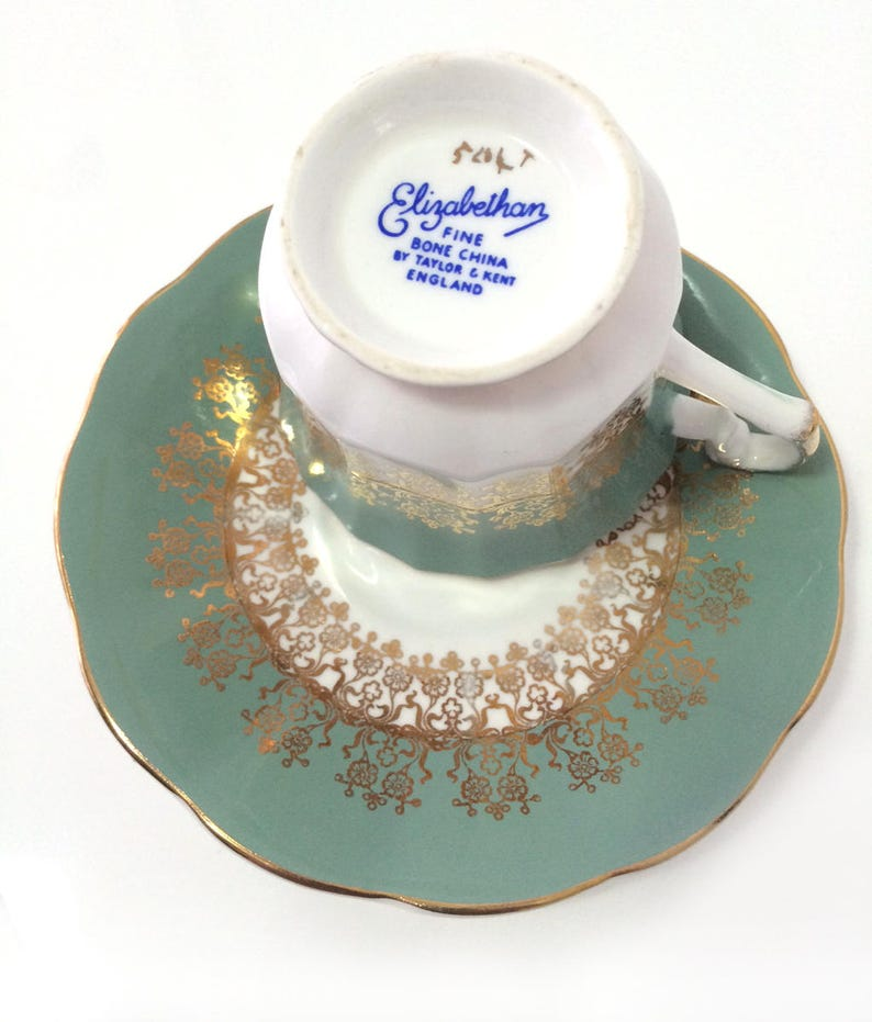 Vintage Elizabethan bone china gilded decorations Longton England footed cup and saucer gold Taylor /& Kent Stoke-on-Trent moss green
