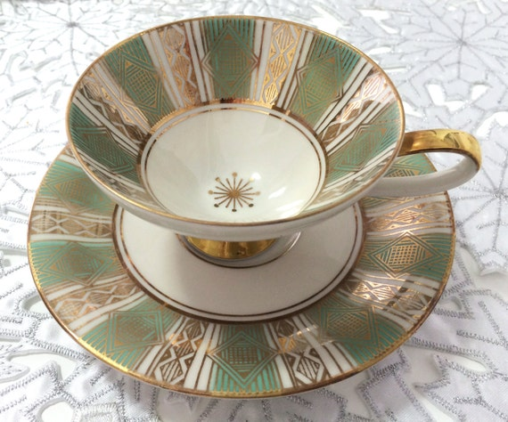 Vintage Kgl Tettau porcelain demitasse Bavarian Pr cream with gold decoration