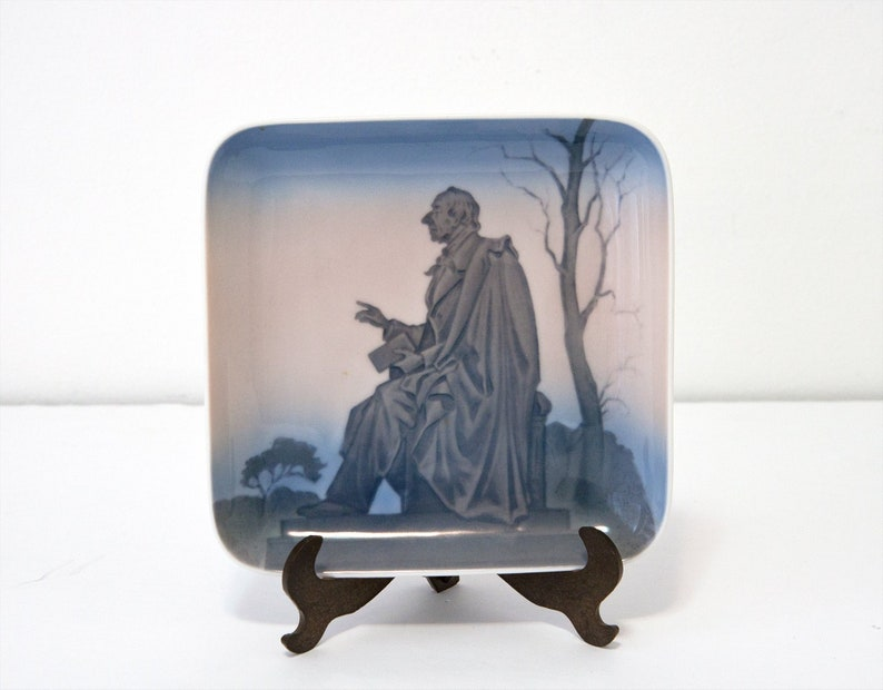 13006555 Vintage Bing and Grondahl collectible H.C decorative small dish square porcelain dish Denmark B/&G Andersens