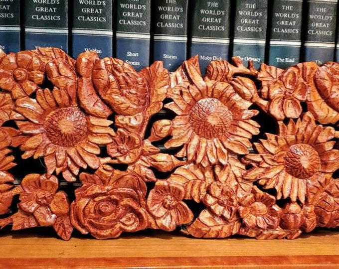 Sunflowers and Roses Woodpanel