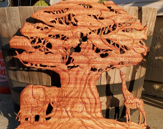 Baobab Tree of Life carved in Mohagany