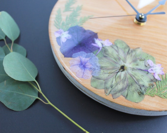 Wooden Clock | Unique Clock | Pressed Floral Art