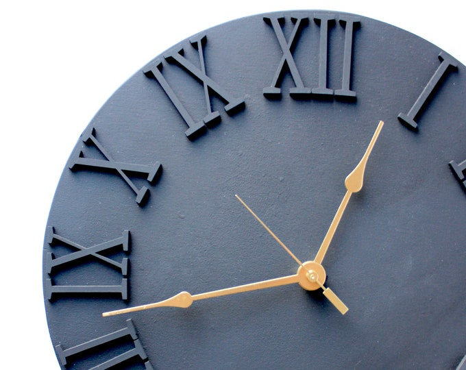 Large Black Wooden Clock - Roman Numerals