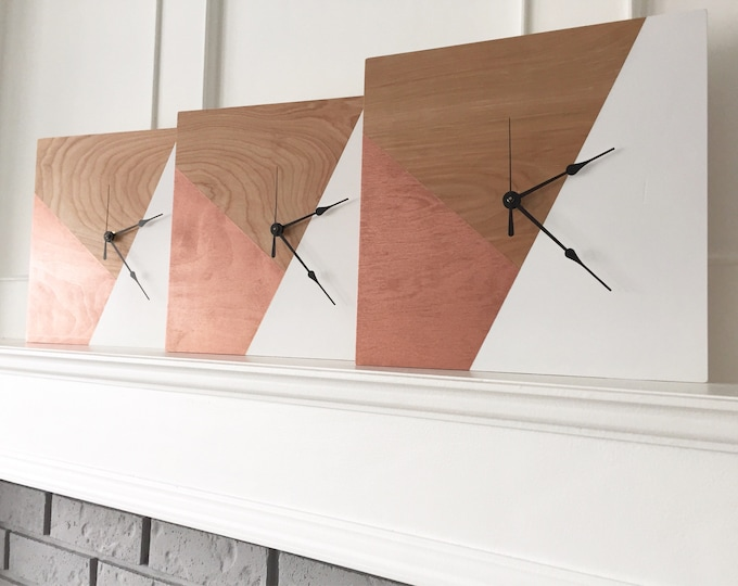 Geometric Design | Wooden Clock | Wall Clock | Wooden Wall Clock | Unique clock |
