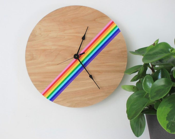 Unique Rainbow Wall Clock | Rainbow Nursery Decor | Rainbow Home Decor