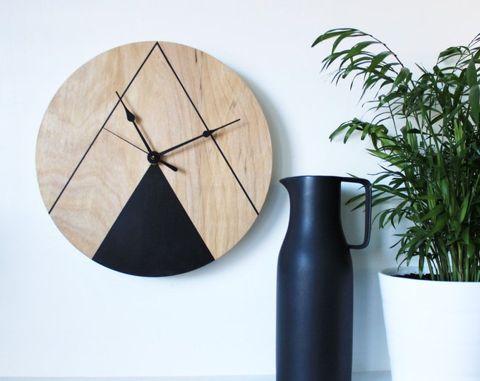 Geometric Inspired Wooden Wall Clock