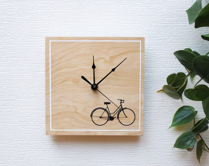 Customizable Unique Wooden Clock, Minimalist Bicycle Wall Clock, Unique Gift Idea