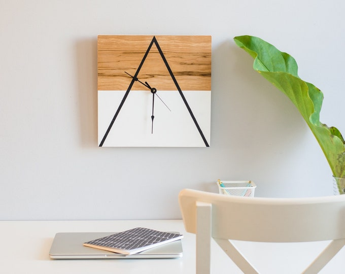 Geometric Inspired Wooden Clock - Thin Triangle
