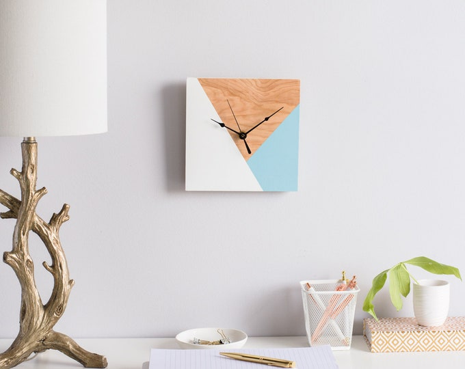 Geometric Inspired Wooden Wall Clock | Modern Kitchen/ Office Clock