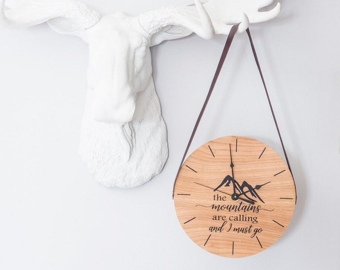 Mountains are Calling Wooden Clock