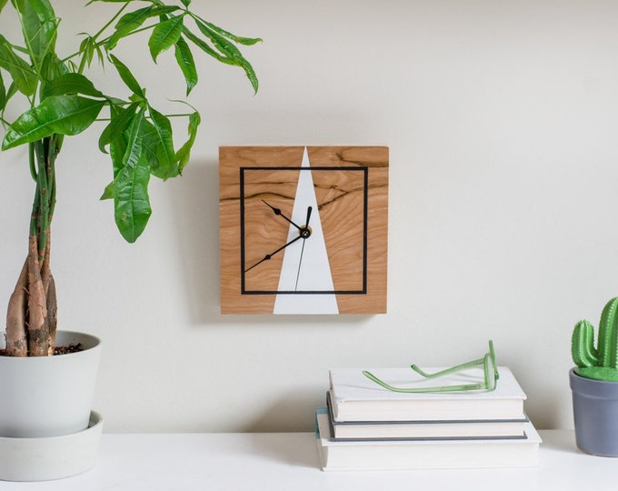 Wooden Handmade Wall Clock |  Unique Modern Wall Clock  | Geometric Inspired Design Wooden Clock | Minimalist Modern Wall Decor