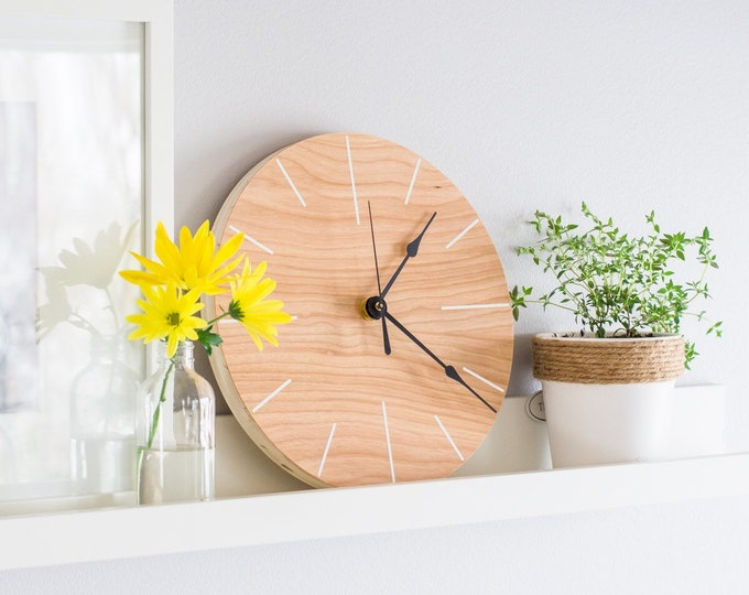 Geometric Wooden Clock | Minimalist Wall clock | Unique Wall Clock | Wall Clock Kitchen - Round Clock