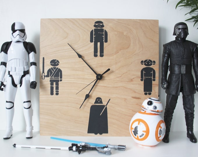 Wooden Star Wars Clock | Star Wars Gifts | wooden Wall Clock | Unique Clock | Free Shipping