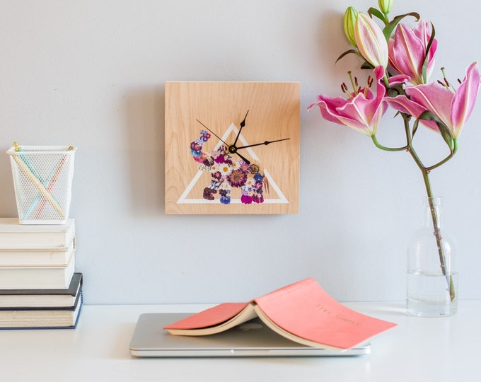 Wooden Clock, Wall Clock, Minimalist Clock, Unique Clock, Pressed floral art,  Decorative Clock