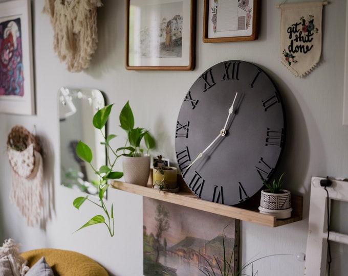 Large Black Wooden Clock - Roman Numerals