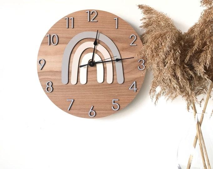 Modern Wooden Wall Clock, Minimal Rainbow Nursery Decor, Minimal Home Decor