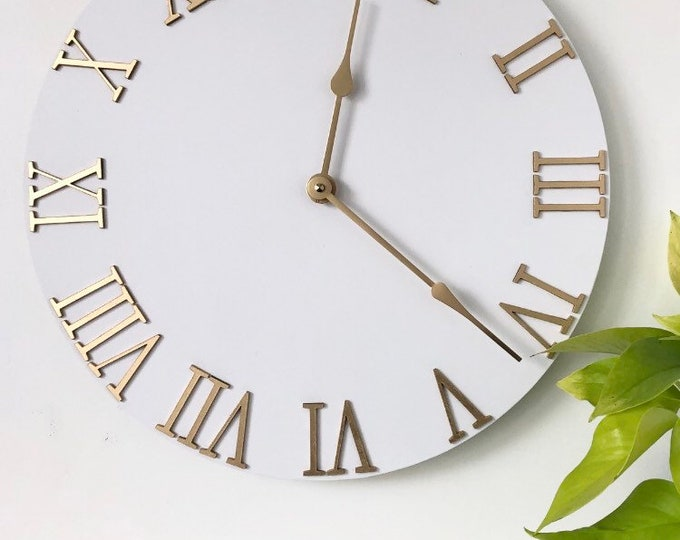 White + Gold Wall Clock