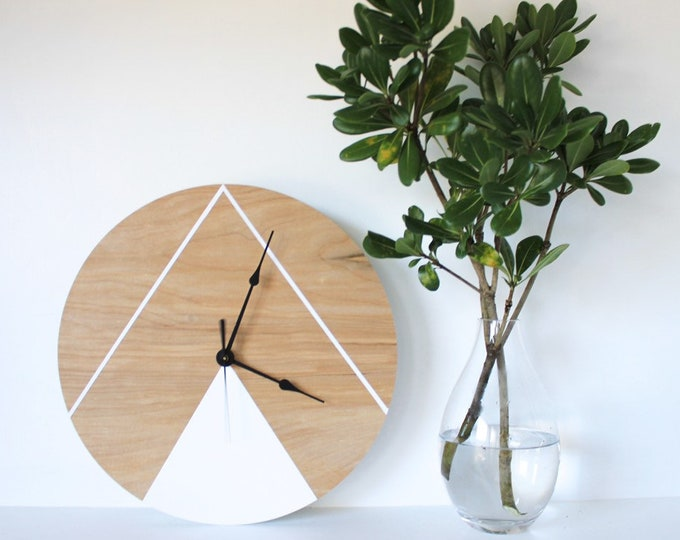 Wooden wall clock, geometric inspired design