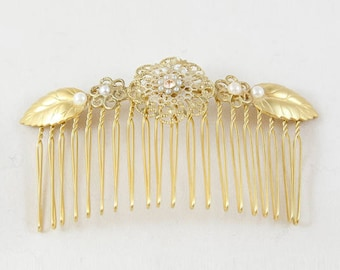Christmas Gift for Women, Gold Hair Comb, Accessory Christmas Gift, Rose Gold Hair Comb, Delicate Comb, Decorative Comb, 14k Gold Head Piece