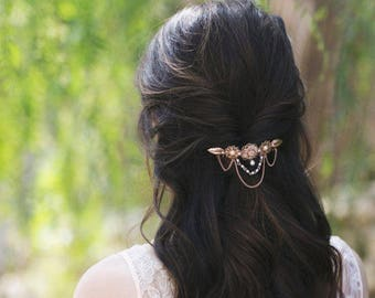 Hair Comb, Wedding Hair Comb, Bridal Hair Comb, Pink Gold Hair Comb, Vintage Style, Bridal Gift, Victorian, Dainty Comb, Gold Comb, Gift