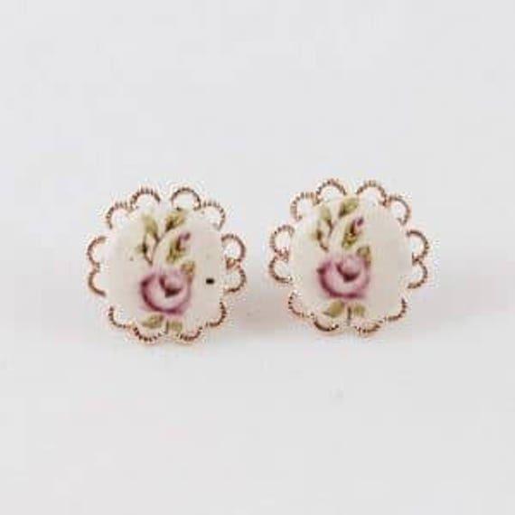 Stud Earrings Ceramic Earrings Christmas Earring Rose Gold Etsy