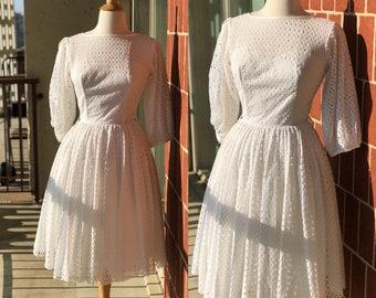 Vintage 1950 Eyelet Dress 3/4 Quarter Sleeves