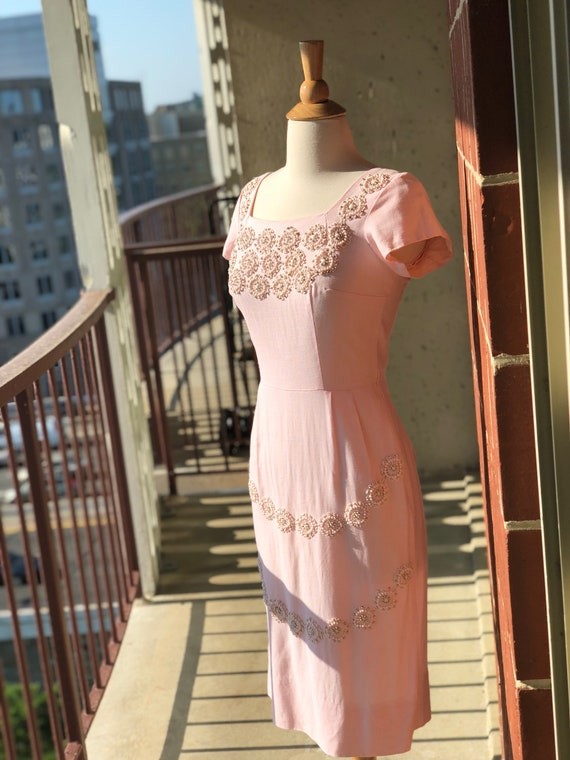 1950's-1960's Embroidered Beaded Wiggle Dress - image 4