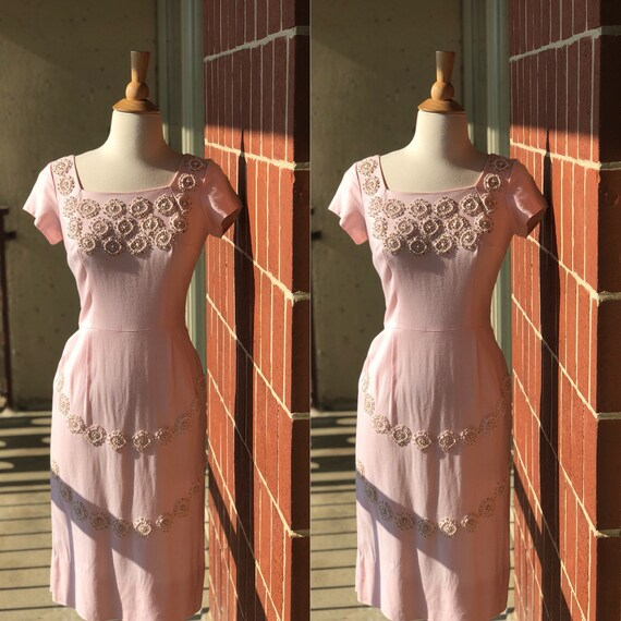 1950's-1960's Embroidered Beaded Wiggle Dress - image 1