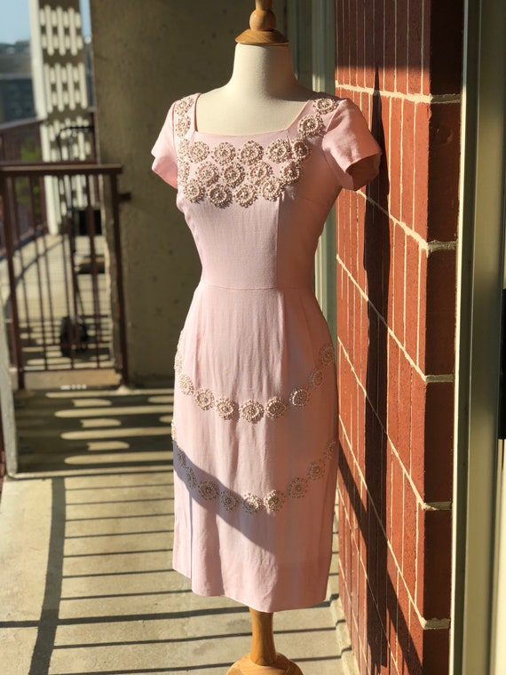 1950's-1960's Embroidered Beaded Wiggle Dress - image 3