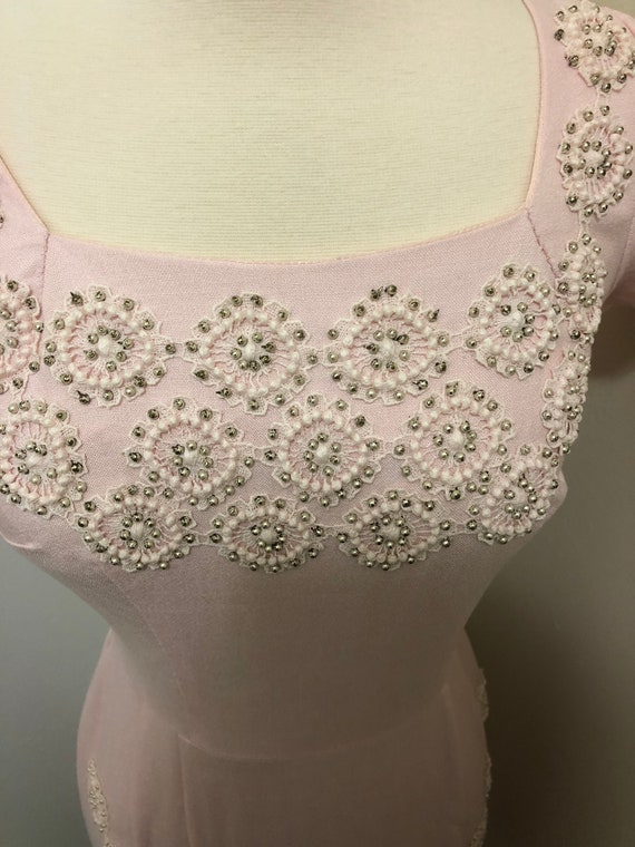 1950's-1960's Embroidered Beaded Wiggle Dress - image 6