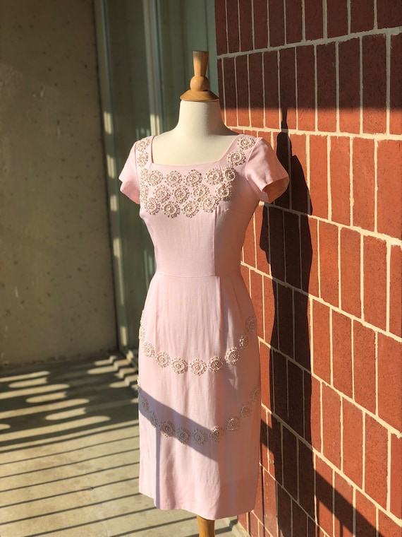 1950's-1960's Embroidered Beaded Wiggle Dress - image 2