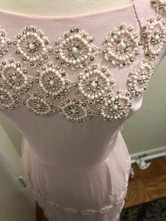1950's-1960's Embroidered Beaded Wiggle Dress - image 7