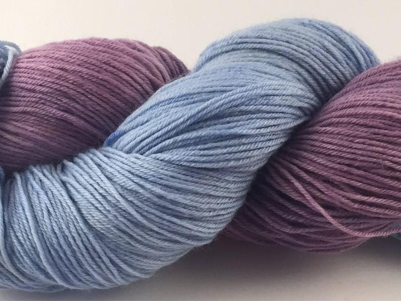 fingering yarn hand painted yarn blue fingering weight sock knitting,purple Sleepmood- Sock yarn hand dyed yarn