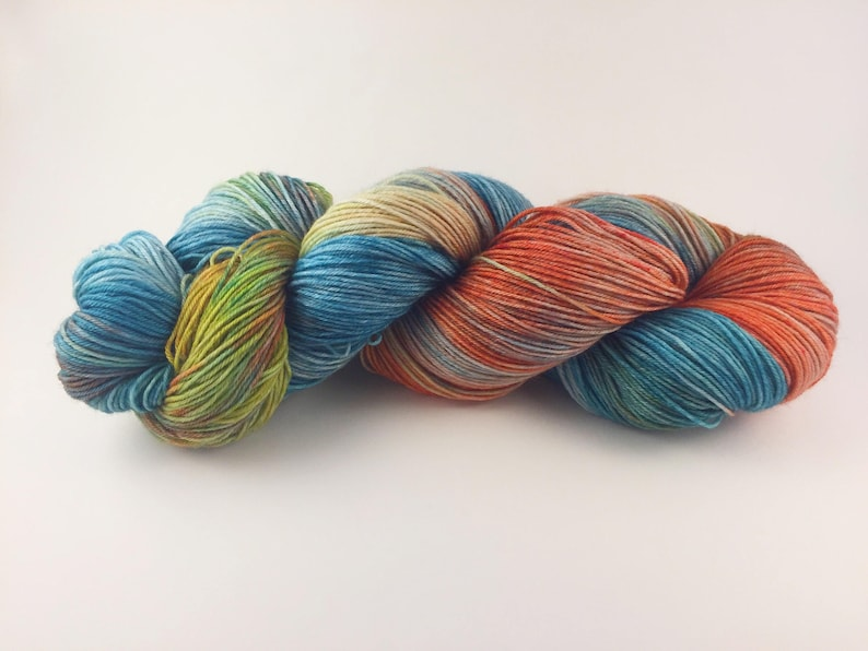 sock knitting hand dyed yarn fingering weight Sock yarn coral hand painted yarn yellow fingering yarn Grocery Store Cake teal