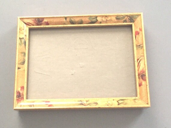 1980s Gold Leaf Wooden Photo Frame Painted Pink Flowers with | Etsy