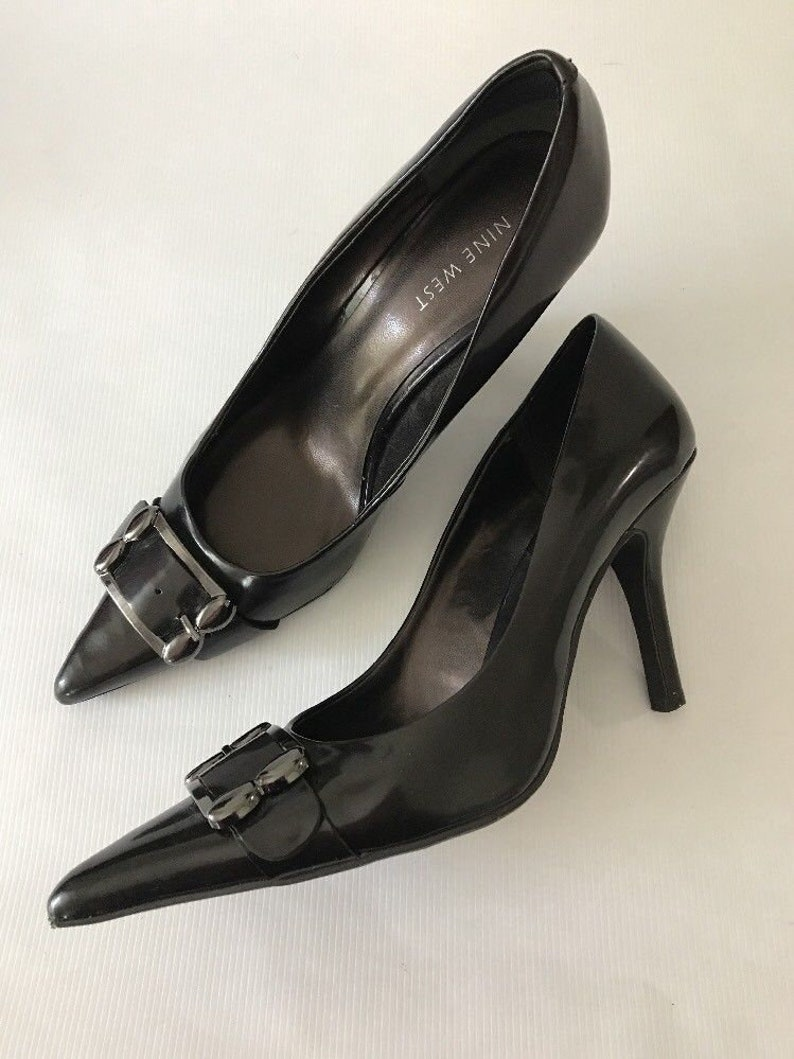 acd2aedd291 NINE WEST Black Leather Pointed toe Pump Shoes Womens Size
