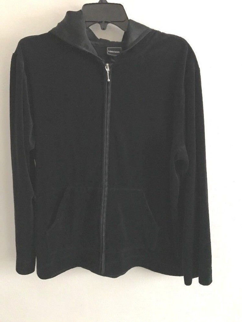 b7ff944e39846 Bobbie Brooks Jacket Velour Hoodie Womens Size 14 16 Black Zip