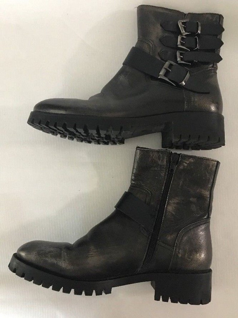 20cc292621b8d Italian Leather Lug Sole Booties Womens Size 38 US 7.5 Distressed Leather  Lined